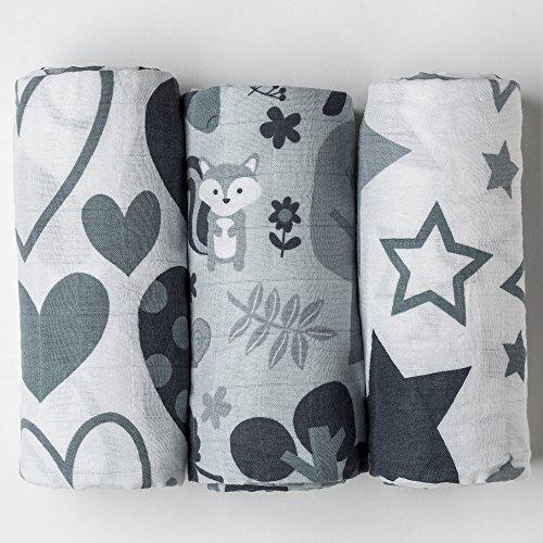 Grey Stars /& Hearts Extra Large Premium Muslin Swaddle Blankets 120cm x 120cm 100/% Cotton