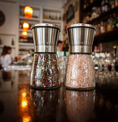 Salz- Und Pfeffermühle - Glasschüttler & Verstellbarer Keramikrotor In 2 Edelstahlmühlen + Silikontrichter & 2 Zitrus-Sprüher - Am Besten Für Leckeres Und Gesundes Essen -