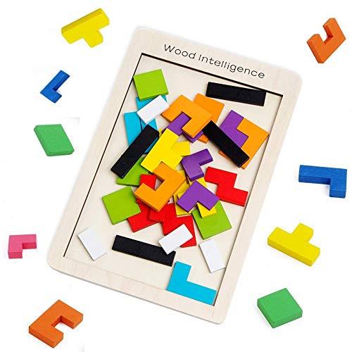 SeeKool Tetris Tangram Holzpuzzles, Bunten Lernspielzeug Intelligenz Pädagigisches Gehirntraining Spielzeug, geometrisch Formen mit Box Knobelspiel für Kinder Geschenk ab 3 Jahren(40 Stück) (Spielzeug Kinder Box)