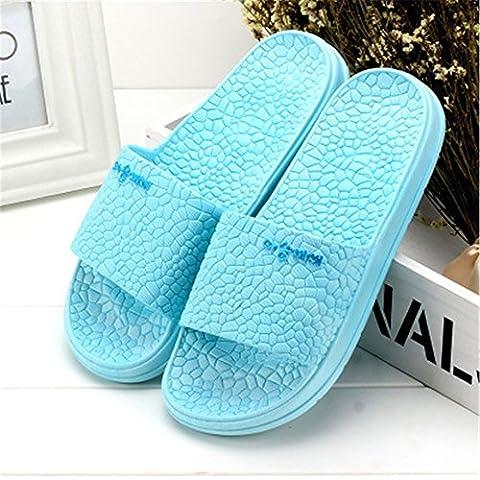 Bagno pantofole giovane Home Slip-Women e uomini Thick-Soled ciabatte da bagno paio di plastica pavimento (Verde Womens Sandali)