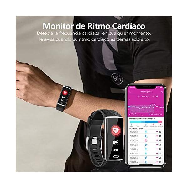 LOZAYI Pulsera de Actividad, Pulsera Actividad Inteligente, IP67, Reloj Inteligente para Mujer y Hombre, con Pulsómetro… 3