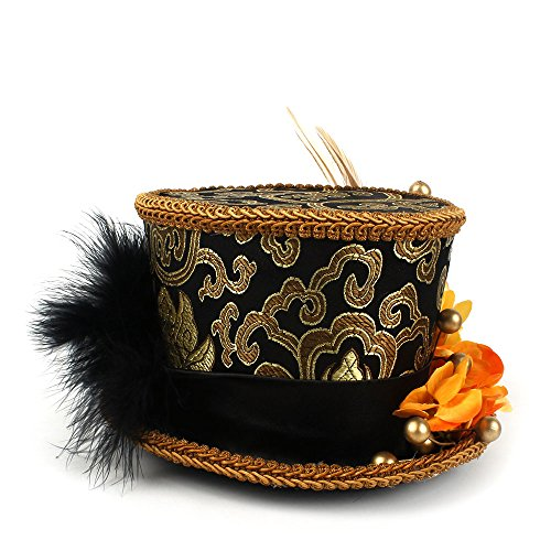 Happy-L-Hut, Gold und Schwarz Pageant Hut Micro Mini Top Hat Tea Party Mini Hut Mad Hatter,Freizeitmode-Cap (Farbe : Schwarz, Größe : 25-30CM)