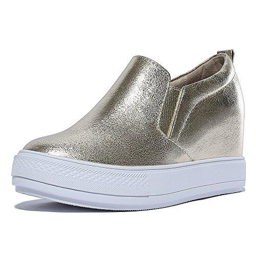 mode Chaussures mocassins plats de kakaka femmes espadrilles anti-vibration Noir Blanc gold