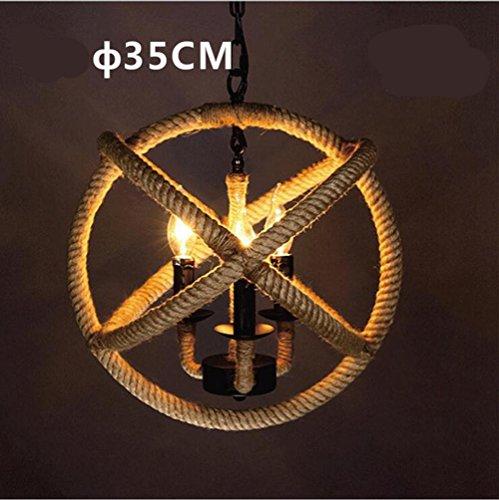 Suspensions 111V ~ 240V (inclus) E14 lustre industriel de lustre de Loft/Pure tissé à la main boule de chanvre corde ManyHeads, 3 head 35cm