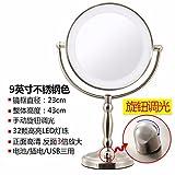 STAZSX ConduitLes miroirs de toilette miroir Lumière de bureau grand continental deux faces miroir de maquillage miroir Princesse mariage avec la lumière,9Couleur Acier inoxydable 81 cm--3Le grossissement