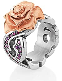 Drachenfels Rose of Antoine D ROF 12-5/VG Women's Ring 925 Silver Matt Garnet Brilliant Cut