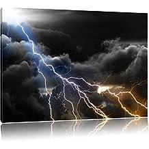 Lampi nel cielo nero / bianco Formato: 120x80 su tela, grandi immagini XXL completamente Pagina con la barella, stampa d'arte su murale con la struttura, più economico di pittura o pittura ad olio, nessun manifesto o poster