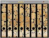 Wallario Ordnerrücken Sticker Holzstapel rund in Premiumqualität - Größe 8 x 3,5 x 30 cm, passend für 8 Schmale Ordnerrücken