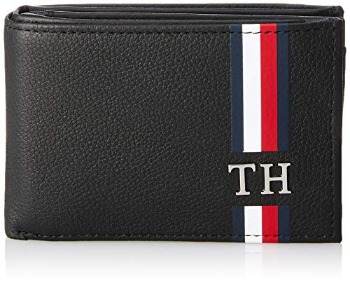 Tommy Hilfiger Th Corporate Mini Cc Flap Coin - Porta carte di credito Uomo, Nero (Black), 3x7.2x10.9 cm (B x H T)
