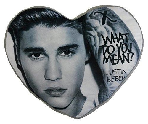 Justin Bieber-Cuscino in peluche a forma di cuore, multicolore