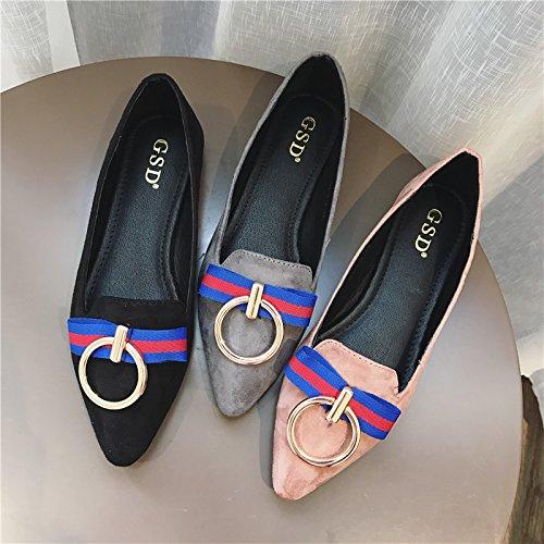 WYMBS Nouveau printemps chaussures unique bouche peu profonde a souligné les grands chantiers loisirs télévision avec des femmes les chaussures plates Gray