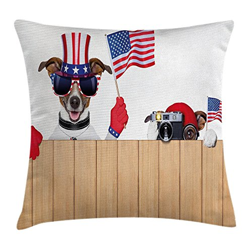 4. Juli Decor Überwurf, Cute Dog Wearing Hat Patriotische amerikanische Flagge Labrador Puppy Animal Bild, dekorative Kissenbezug, quadratisch Accent Kissen Fall, 45,7 x 45,7 cm, rot beige (Schwarze Hat Flagge Amerikanische)
