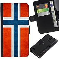 EuroCase - Samsung Galaxy S4 IV I9500 - Norway Grunge Flag - Cuero PU Delgado caso cubierta Shell Armor Funda Case Cover