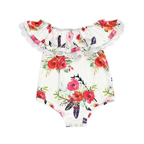Yanhoo Kinderkleidung, Baby Ärmellos Blumendruck Quasten Schen Body-Anzug Baby Overalls + Haarband Zweiteilige Sets Overall Spielanzug Onesies (70, Weiß)