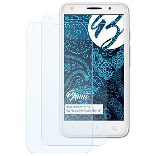 Bruni Schutzfolie kompatibel mit Alcatel One Touch Pixi 4 (5) Folie, glasklare Bildschirmschutzfolie (2X)