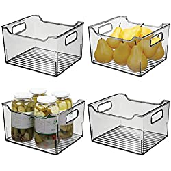 mDesign boîte en plastique avec poignées (lot de 4) - boîte pour frigo haute pour ranger les aliments - caisse de rangement en plastique pour la cuisine ou le réfrigérateur - gris fumé