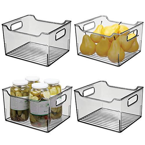 mDesign 4er-Set Aufbewahrungsbox mit Griffen - hohe Kühlschrankbox zur Lebensmittelaufbewahrung - Ablage aus Kunststoff für den Küchen- oder Kühlschrank - rauchgrau