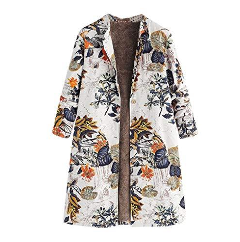 FNKDOR Manteau Femme Automne Hiver Grande Taille Vintage Veste à Fleurs Imprimées épais Mode Parka Blouson Pas Cher (Jaune,XL=FR(42))