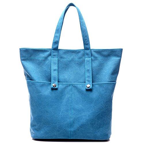 HongyuTing Damen Qualität Leder PU Schultertasche Damen Leder Handtaschen Umhängetasche B055-Blau