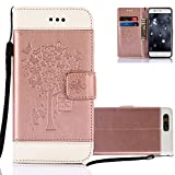 Huawei P10 Lite Wallet Case, Aeeque PU Leather Bookstyle Flip Stand Magnetic Closure with Card Slots Holster Cover and Butterflies Tree Pattern for Huawei P10 Lite 5.2 inch - Rose Gold and White