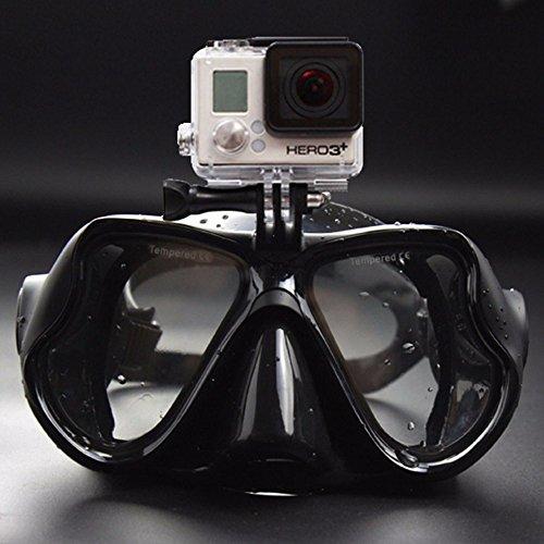 Sportstorm sous-Marine Masque de Plongée Scuba Lunettes de Natation pour Tuba avec vis de Amovible Support de Fixation pour GoPro Hero4, Hero3et Xiaomi Yi Caméras d'action, Noir