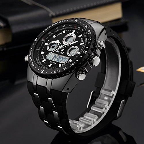 ba82aaeec553 binzi Hombre Relojes impermeable militar reloj de pulsera Sport de ...