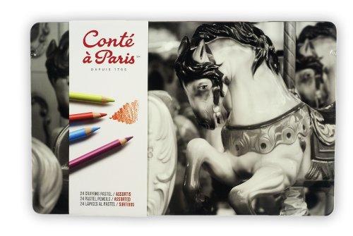 Conté a Paris 2182 Pastellstifte (hochwertigen Künstler, Zeichenstifte mit weiche, cremige Textur, leuchtende Farben) 24er Sortiment