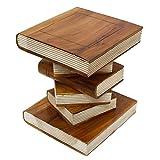 Nachttisch Beistelltisch Bücherhocker Tisch Hocker Buch Stapel Massiv Holz 40 cm Hellbraun Creme Inkl. Südostasien Bildband als PDF Datei