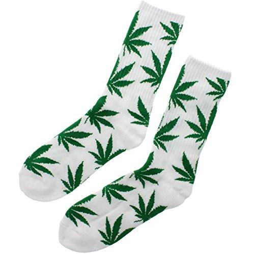 Socken Einmalige Anlage Weed Blatt drucken Unisex Baumwolle hohe Crew Athletische Rasta MFAZ Morefaz Ltd