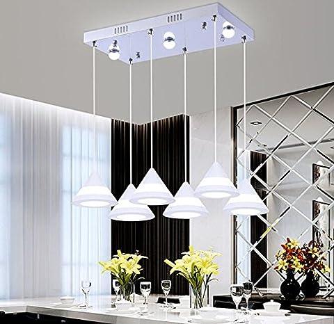 Qwer Pendentif Plafonnier lampe Acrylique lustres moderne lustres seule Tête trois Tête Restaurant lustres à suspendre lustres et lampes, 5–30, Creative Six Tête Long