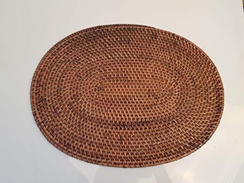 Brown Ovalen Esstisch (Bongjas Dream Tischset, handgefertigt, oval, Bali Rattan, 39,9 cm Brown Wash)