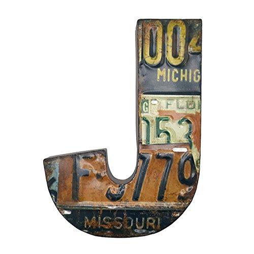 66retro 33cm aus Metall Buchstaben J mit Nummernschild Muster und geprägtem Vintage Wand Dekoration Schild