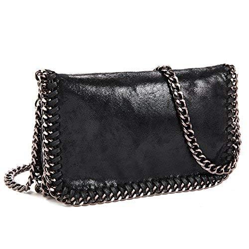 J&K Crossbody Hobo Handtaschen für Damen, Kunstleder, Paillette, Clutch, Schultertaschen mit klassischer Metallkette