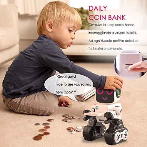 Giocattolo Robot Telecomandato Regalo per Bambini, Robot Interattivo con luce a LED, Controllo del Suono & Sensore di Movimento, Parla, si Muove &