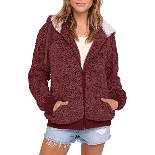 DEELIN Damen Plus Size Casual Pocket Hooded Parka Outwear Cardigan Sweater Coat