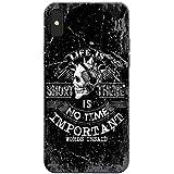Grunge Cult Fun Tête de mort Art Hipster Musique téléphone Housse/Coque rigide pour Apple téléphone portable, No Time Leave No Word Unsaid, Apple iPhone X (iPhone 10)