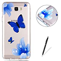 Galaxy J5 Prime Clear Crystal Case KaseHom Art Painting Premium TPU Back and [Free Black Stylus Pen] Anti-Scratch Slim Flexible All Around Protection Silicone Cover Shell - Butterfly