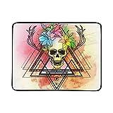 KAOROU Trash Skull Blood Splatter Fleurs De Lys Tapis De Couverture Portable Et...