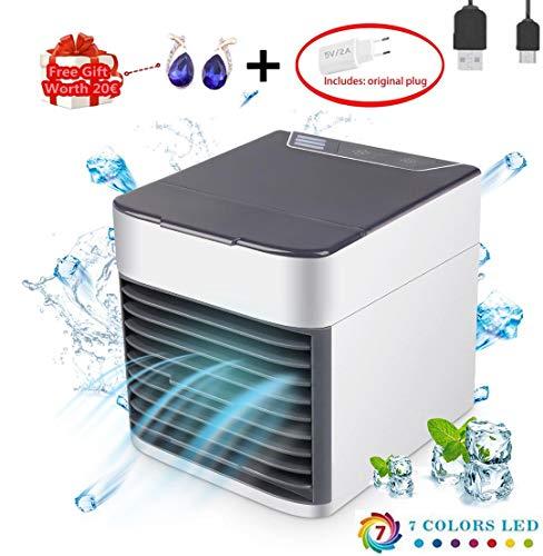 Mini Air Cooler Tragbare Luftkühler, USB Mobile klimageräte - 3 in 1 Mini Luftbefeuchter und Luftreiniger, Tischklimaanlage Ventilator, Leakproof, New Filter Paper (Weißes Upgrade) - Smart-response-mobile