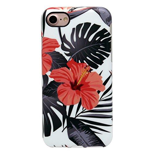 4.7 iPhone 7 SGSELLER TPU Slim Fit Ultra Dünn Stoßfest Anti-Kratz Anti-Fingerabdruck Matt Schutzhülle Gehäuse, Plastik (Marble (Black Green)) Floral (Summer)