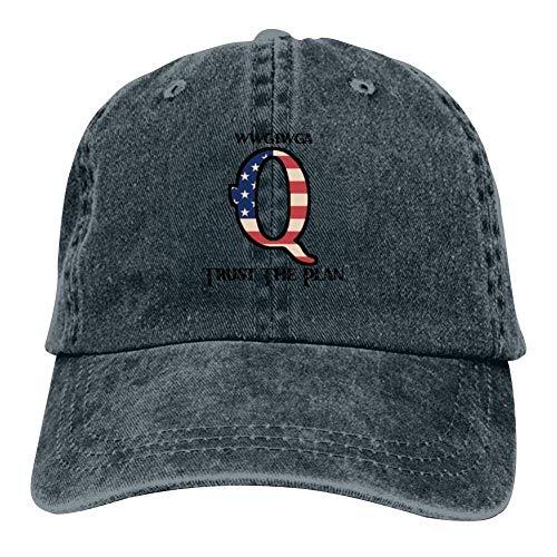 j65rwjtrhtr Mütze Hut Unisex Q-Patriot Trust The Plan Baseball Caps Vintage Jeans Denim Cotton Adjustable Hat