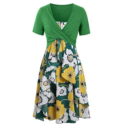 Kleid 50er Jahre Rockabilly Damen Vintage Polka Dots Blumendruck Bodycon Ärmellos Casual Abend Prom Swing Kleid Röcke Petticoat Geraffte Dot