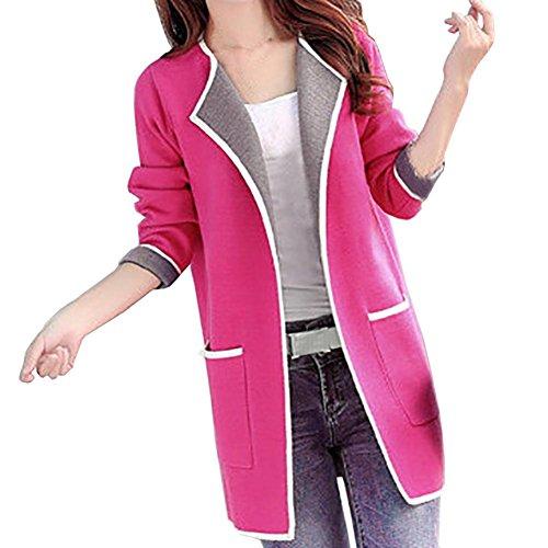 Windbreaker Damen, DoraMe Frauen Patchwork Sweatshirt Mantel Revers Kragen Jacke Plus Size Lange ärmel Tasche Lose Beide Seiten Tragen Jacke (3XL, Rose (Plus Size Tragen)