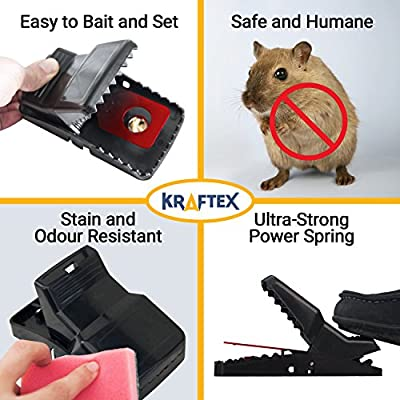 NEW: #1 Rat Traps - Catch Rodents Fast [Quick & Effective] Trapper Pack by Kraftex [Easy to Use ZERO Contact with Rats] to Protect Children, Pets, Livestock Against Diseases & Pests - Set of 6