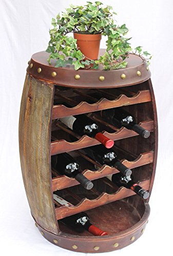 DanDiBo Weinregal Weinfass 1546 Fass aus Holz 70cm Flaschenständer Regal Antikbraun Bar