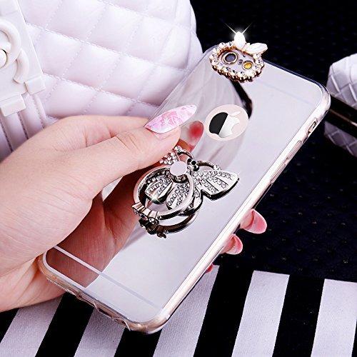 iPhone 8 Hülle,iPhone 7 Hülle, iPhone 7 Silikon Hülle Glitzer,iPhone 7 Schutzhülle,JAWSEU Kristall Diamant Spiegel Handy Silikon Hülle TPU Back Case Schutzhülle für iPhone 7 Silikon Hülle mit Glitzer  Schmetterling Silber