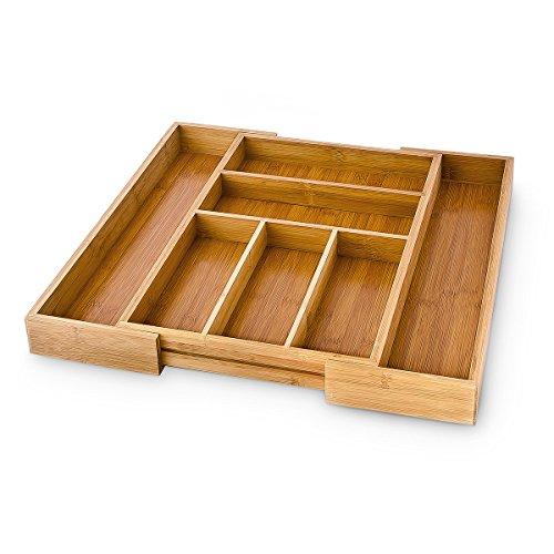 Relaxdays Portaposate Estendibile in Bambù da 30 a 48 cm, con 7 Scompartimenti comprare on line