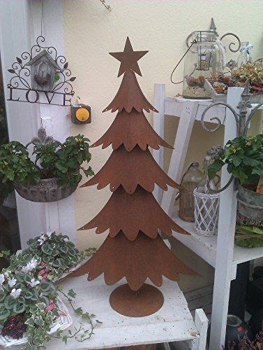 terracotta-toepfe-de Tannenbaum ca. 95 cm aus Metall Edelrost Rost Weihnachten Deko Weihnachtsbaum mit Ösen zum Anhängen von Deko