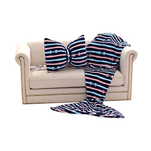 Transer® Fashion Kinder/Erwachsene Coral Fleece Meerjungfrau Schwanz Sofa Decke + Schleife Kissen, acryl, blau, S