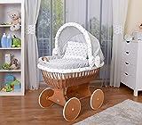 WALDIN Baby Stubenwagen-Set mit Ausstattung,XXL,Bollerwagen,komplett,26 Modelle wählbar,Gestell/Räder lackiert,Stoffe grau/Sterne-grau